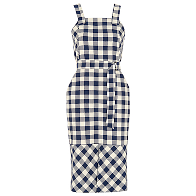 Gita Apron Check Dress, Blue/Multi - sleeve style: standard vest straps/shoulder straps; fit: tailored/fitted; pattern: checked/gingham; style: dungaree dress/pinafore; waist detail: belted waist/tie at waist/drawstring; secondary colour: white; predominant colour: navy; length: just above the knee; fibres: polyester/polyamide - stretch; sleeve length: sleeveless; neckline: medium square neck; pattern type: fabric; pattern size: standard; texture group: other - light to midweight; occasions: creative work; season: s/s 2016; wardrobe: highlight