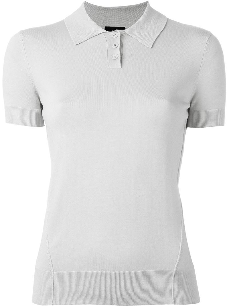 Knitted Polo Shirt, Women's, Size: Large, Grey - neckline: shirt collar/peter pan/zip with opening; pattern: plain; style: polo shirt; predominant colour: light grey; occasions: casual; length: standard; fibres: silk - mix; fit: body skimming; sleeve length: short sleeve; sleeve style: standard; pattern type: fabric; texture group: jersey - stretchy/drapey; season: s/s 2016; wardrobe: basic
