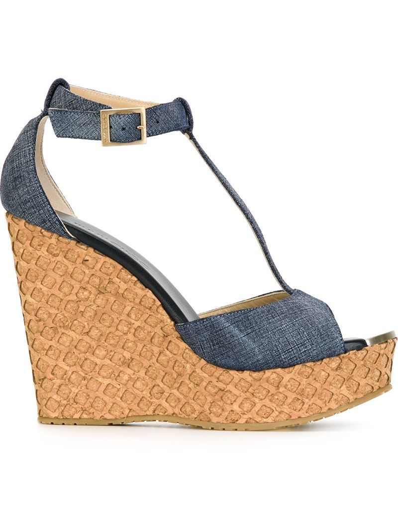 'pela' Sandals, Women's, Blue - predominant colour: denim; occasions: casual; material: leather; ankle detail: ankle strap; heel: wedge; toe: open toe/peeptoe; style: strappy; finish: plain; pattern: plain; heel height: very high; shoe detail: platform; season: s/s 2016; wardrobe: highlight