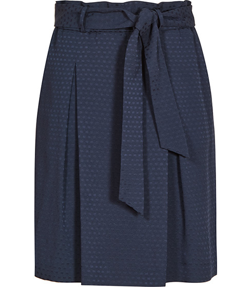 Hackney Box Pleat Skirt - pattern: plain; style: pleated; waist: high rise; waist detail: belted waist/tie at waist/drawstring; predominant colour: navy; length: just above the knee; fibres: viscose/rayon - stretch; hip detail: adds bulk at the hips; fit: straight cut; pattern type: fabric; texture group: other - light to midweight; occasions: creative work; season: s/s 2016; wardrobe: basic