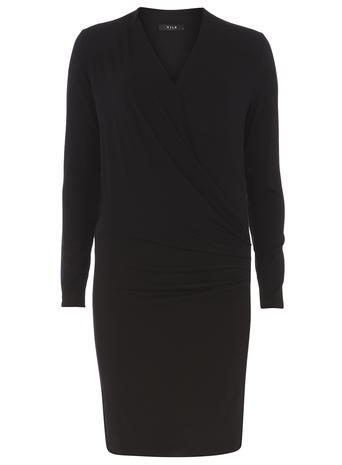 Womens **Vila Black Wrap Dress Black - style: faux wrap/wrap; neckline: v-neck; pattern: plain; predominant colour: black; occasions: evening; length: just above the knee; fit: body skimming; fibres: viscose/rayon - stretch; sleeve length: long sleeve; sleeve style: standard; pattern type: fabric; texture group: jersey - stretchy/drapey; season: s/s 2016; wardrobe: event