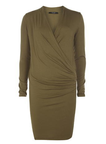 Womens **Vila Khaki Wrap Dress Khaki - style: faux wrap/wrap; neckline: v-neck; pattern: plain; predominant colour: khaki; occasions: evening; length: just above the knee; fit: body skimming; fibres: viscose/rayon - stretch; sleeve length: long sleeve; sleeve style: standard; pattern type: fabric; texture group: jersey - stretchy/drapey; season: s/s 2016; wardrobe: event