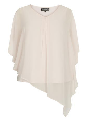 Womens **Billie & Blossom Curve Blush Chiffon Overlay Blouse Pink - neckline: v-neck; sleeve style: angel/waterfall; pattern: plain; style: blouse; predominant colour: blush; occasions: evening; length: standard; fibres: polyester/polyamide - 100%; fit: loose; sleeve length: half sleeve; texture group: sheer fabrics/chiffon/organza etc.; pattern type: fabric; season: s/s 2016; wardrobe: event
