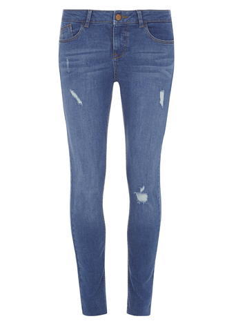 Womens Bright Blue 'casey' Relaxed Skinny Jeans Blue - style: skinny leg; length: standard; pattern: plain; pocket detail: traditional 5 pocket; waist: mid/regular rise; predominant colour: denim; occasions: casual; fibres: cotton - stretch; jeans detail: whiskering, rips; texture group: denim; pattern type: fabric; season: s/s 2016; wardrobe: basic