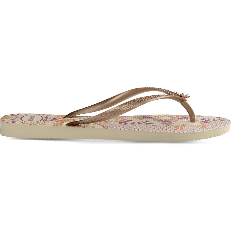 Slim Floral Print Flip Flops, Women's, 1/2, Beige - predominant colour: camel; secondary colour: stone; material: plastic/rubber; heel height: flat; heel: standard; toe: toe thongs; style: flip flops; occasions: holiday; finish: plain; pattern: striped; season: s/s 2016; wardrobe: highlight