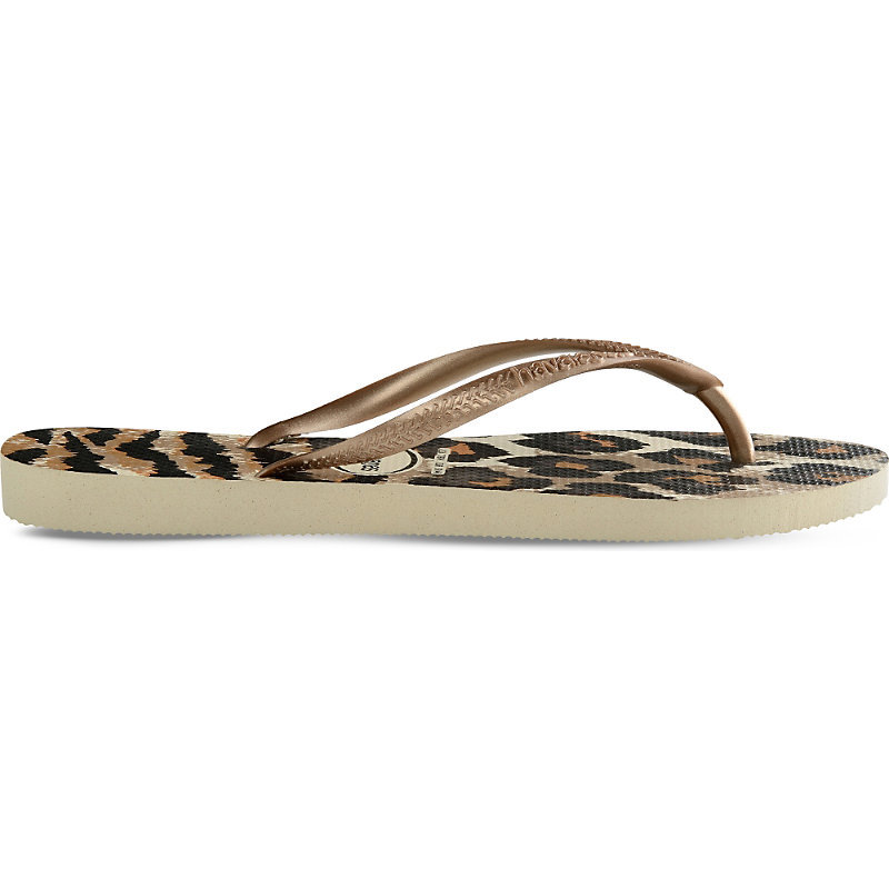 Slim Animal Print Flip Flops, Women's, 6/7, Beige/Black/Dark Salmon - predominant colour: gold; occasions: casual; material: plastic/rubber; heel height: flat; heel: standard; toe: toe thongs; style: flip flops; finish: plain; pattern: plain; season: s/s 2016; wardrobe: highlight