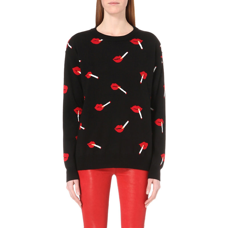 Smoking Lips Wool Jumper, Women's, Size: Medium, Fantasy Print Black - neckline: round neck; style: standard; secondary colour: true red; predominant colour: black; occasions: casual, creative work; length: standard; fibres: wool - 100%; fit: standard fit; sleeve length: long sleeve; sleeve style: standard; texture group: knits/crochet; pattern type: knitted - fine stitch; pattern: patterned/print; pattern size: big & busy (top); multicoloured: multicoloured; season: s/s 2016; wardrobe: highlight