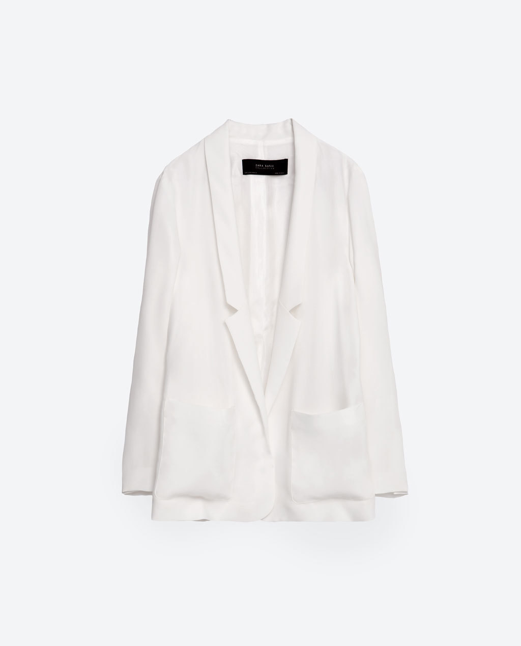 Long Flowing Blazer - pattern: plain; style: single breasted blazer; collar: standard lapel/rever collar; length: above the knee; predominant colour: white; fit: straight cut (boxy); fibres: polyester/polyamide - 100%; sleeve length: long sleeve; sleeve style: standard; collar break: low/open; pattern type: fabric; texture group: other - light to midweight; occasions: creative work; season: s/s 2016