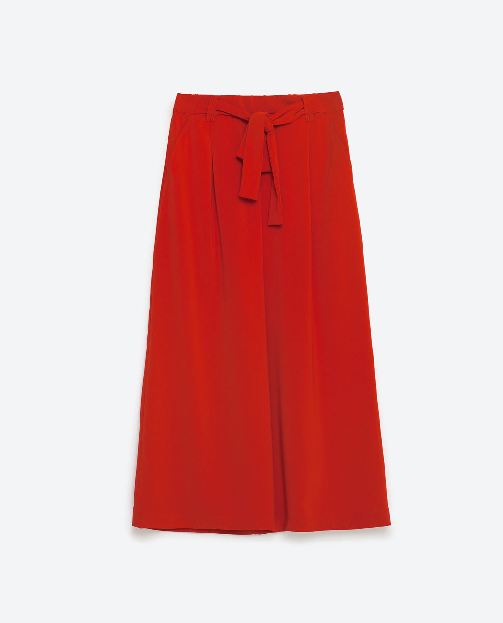 Cropped Flowing Trousers - pattern: plain; style: palazzo; waist: high rise; predominant colour: true red; length: calf length; fibres: polyester/polyamide - mix; fit: wide leg; pattern type: fabric; texture group: other - light to midweight; occasions: creative work; season: s/s 2016; wardrobe: highlight