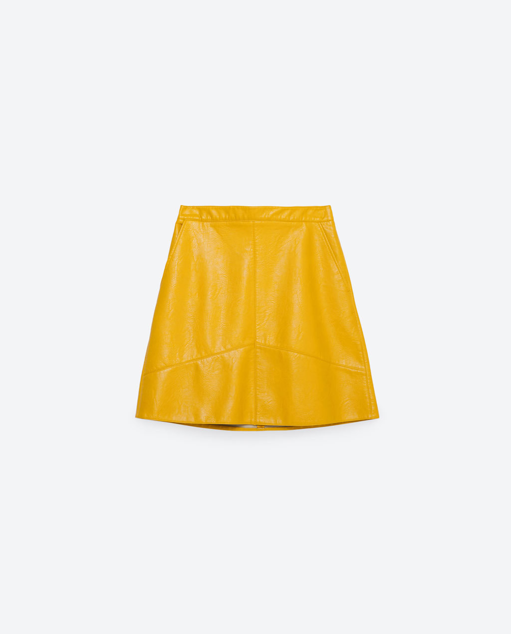 A Line Skirt - length: mini; pattern: plain; fit: loose/voluminous; waist: mid/regular rise; predominant colour: mustard; occasions: casual, creative work; style: a-line; fibres: polyester/polyamide - 100%; texture group: leather; pattern type: fabric; season: s/s 2016