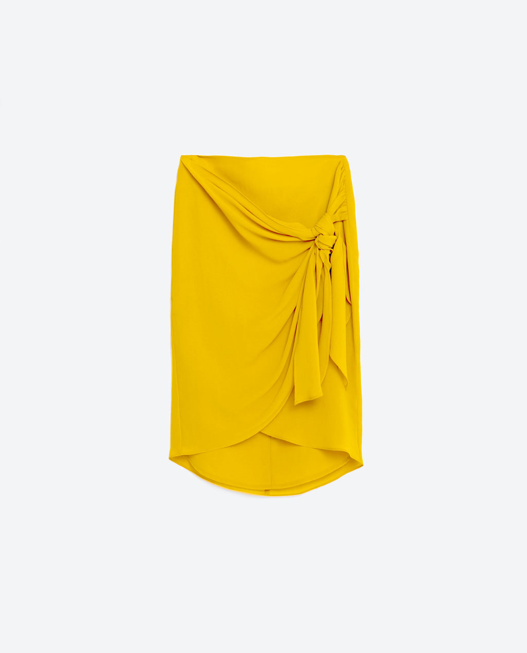 Knotted Wrap Skirt - pattern: plain; style: wrap/faux wrap; fit: body skimming; waist: mid/regular rise; predominant colour: yellow; length: just above the knee; fibres: polyester/polyamide - 100%; occasions: occasion, creative work; hip detail: adds bulk at the hips; texture group: sheer fabrics/chiffon/organza etc.; pattern type: fabric; season: s/s 2016; wardrobe: highlight