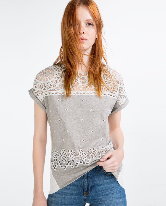 DevorÉ T Shirt - pattern: plain; bust detail: sheer at bust; style: t-shirt; secondary colour: white; predominant colour: light grey; occasions: casual; length: standard; fibres: cotton - mix; fit: body skimming; neckline: crew; sleeve length: short sleeve; sleeve style: standard; pattern type: fabric; texture group: jersey - stretchy/drapey; embellishment: lace; multicoloured: multicoloured; season: s/s 2016; wardrobe: highlight