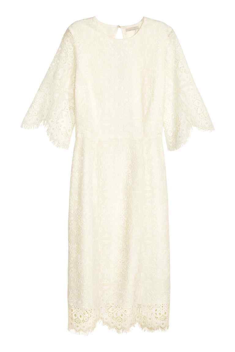 Lace Dress - style: shift; fit: tailored/fitted; predominant colour: ivory/cream; occasions: evening, occasion; length: just above the knee; fibres: polyester/polyamide - 100%; neckline: crew; back detail: keyhole/peephole detail at back; sleeve length: half sleeve; sleeve style: standard; texture group: lace; pattern type: fabric; pattern size: standard; pattern: patterned/print; season: s/s 2016; wardrobe: event