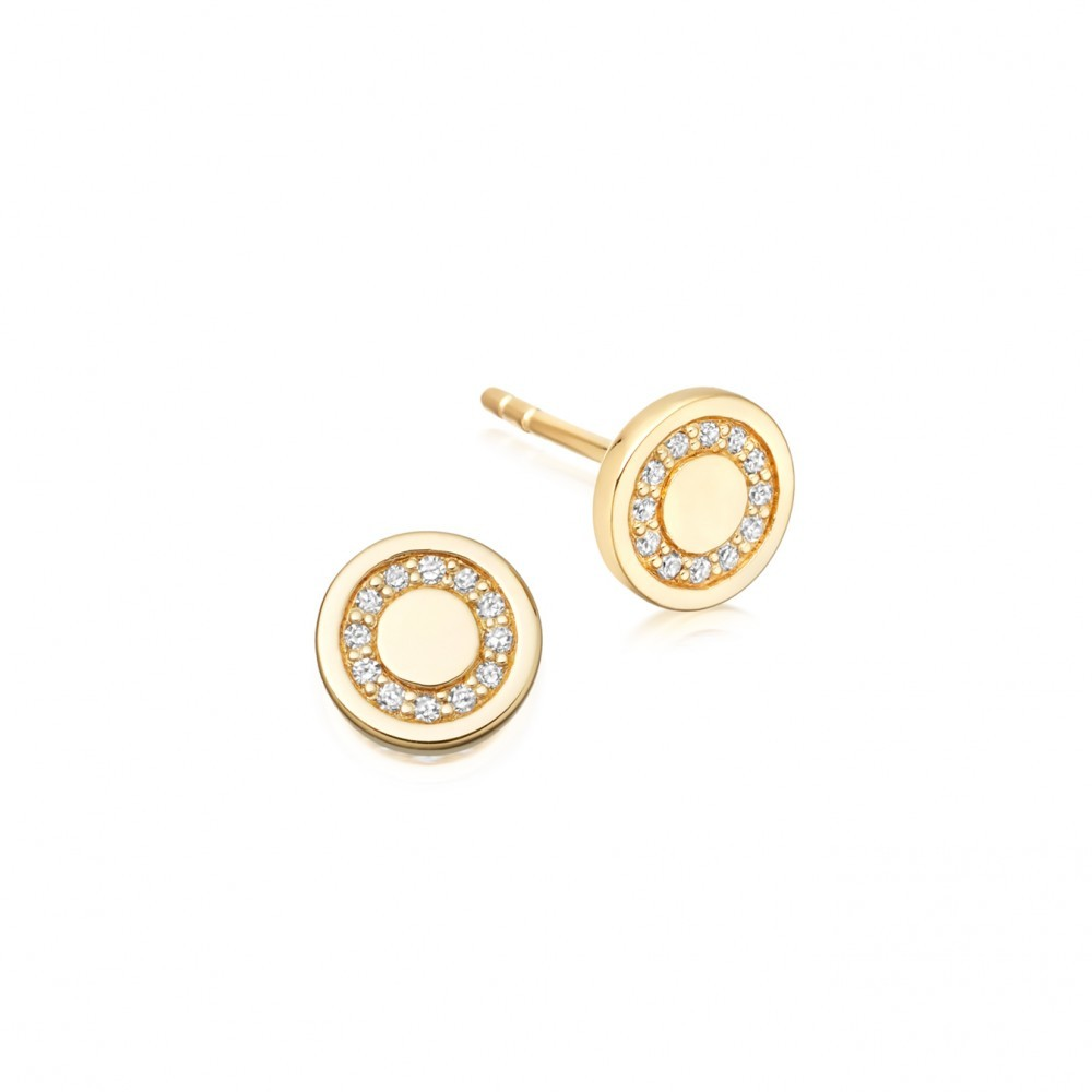 Mini Cosmos Stud Earrings - predominant colour: gold; occasions: evening, work, occasion; style: stud; length: short; size: small/fine; fastening: pierced; finish: metallic; material: animal skin; embellishment: crystals/glass; season: s/s 2016; wardrobe: highlight
