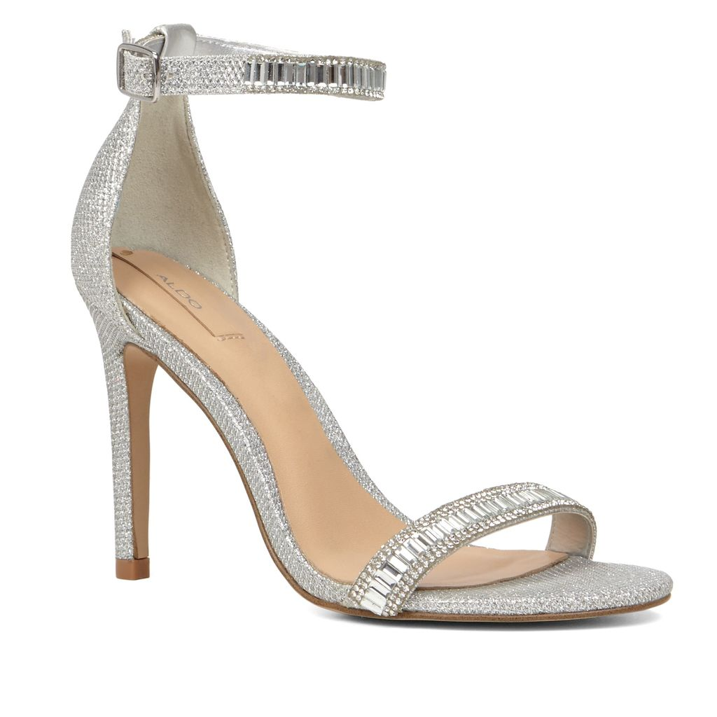 Sevoredia Metallic Strappy Sandals, Silver Metallic - predominant colour: silver; occasions: evening, occasion; material: faux leather; embellishment: beading; ankle detail: ankle strap; heel: stiletto; toe: open toe/peeptoe; style: standard; finish: metallic; pattern: plain; heel height: very high; season: s/s 2016; wardrobe: event