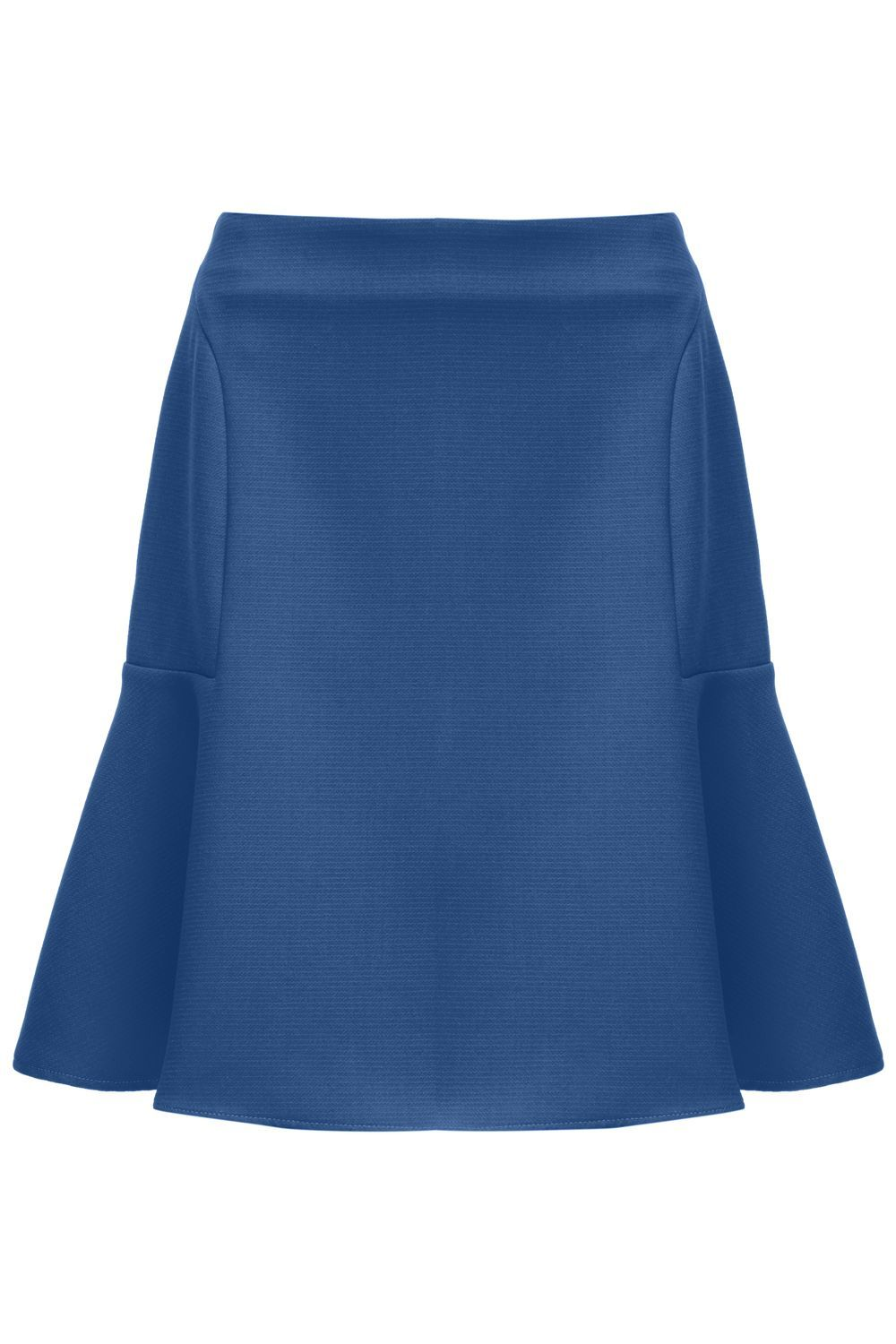 Skater Skirt, Blue - pattern: plain; style: full/prom skirt; fit: loose/voluminous; waist: high rise; predominant colour: denim; occasions: work, creative work; length: just above the knee; fibres: polyester/polyamide - 100%; hip detail: structured pleats at hip; pattern type: fabric; texture group: woven light midweight; season: s/s 2016; wardrobe: highlight