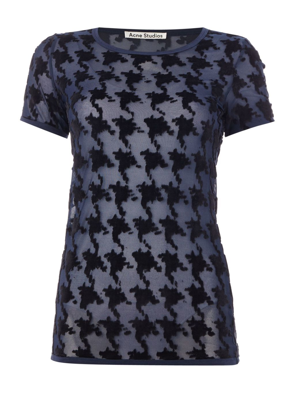 Short Sleeved Jacquard Top, Black - predominant colour: navy; secondary colour: black; occasions: casual; length: standard; style: top; fibres: cotton - mix; fit: body skimming; neckline: crew; sleeve length: short sleeve; sleeve style: standard; pattern type: fabric; pattern: patterned/print; texture group: brocade/jacquard; multicoloured: multicoloured; season: s/s 2016; wardrobe: highlight