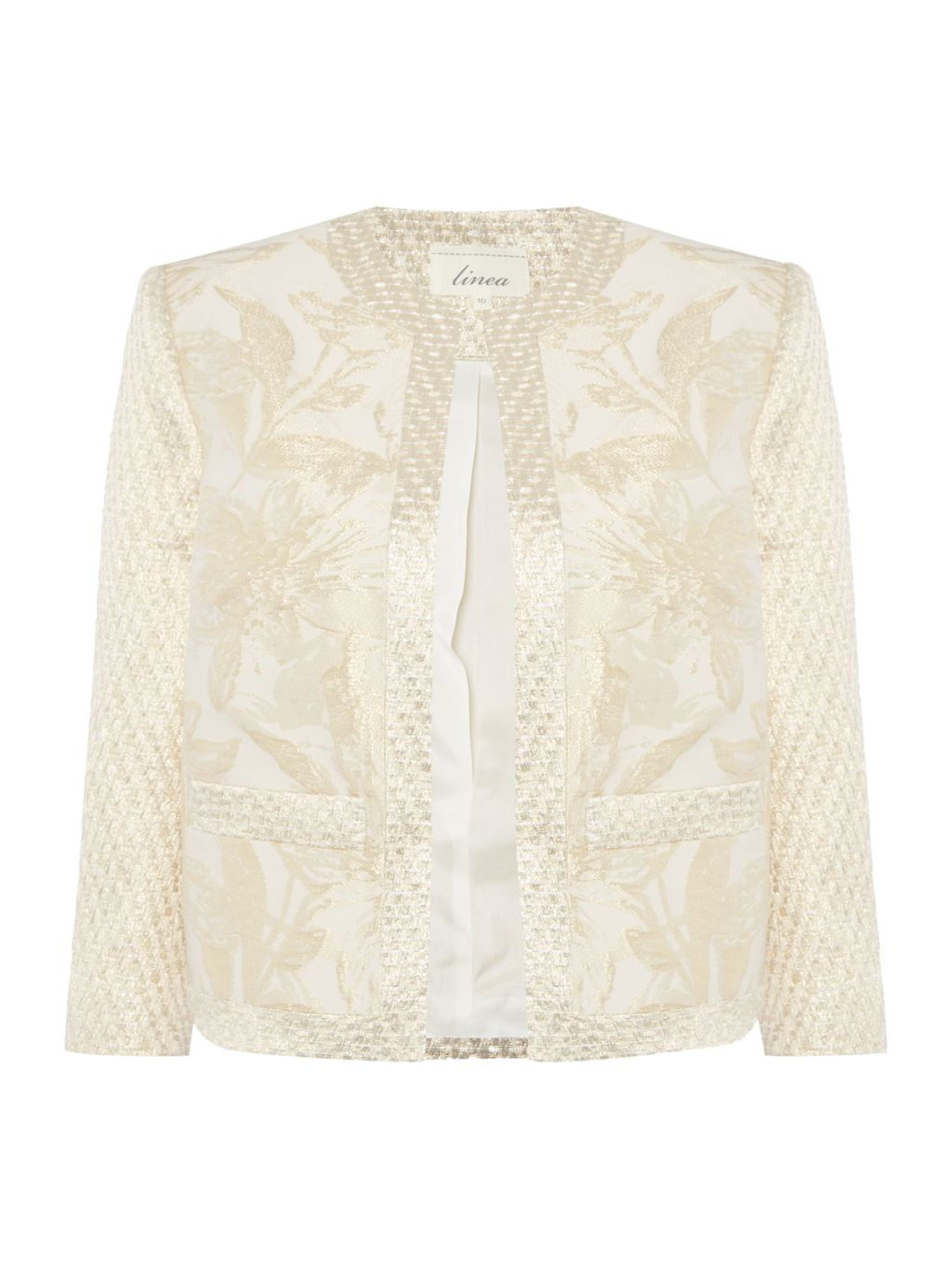 Made In Britain Gold Jacquard Floral Jacket., Gold - collar: round collar/collarless; style: boxy; predominant colour: ivory/cream; occasions: evening; length: standard; fit: straight cut (boxy); fibres: polyester/polyamide - mix; sleeve length: 3/4 length; sleeve style: standard; collar break: low/open; pattern type: fabric; pattern size: standard; pattern: florals; texture group: brocade/jacquard; season: s/s 2016