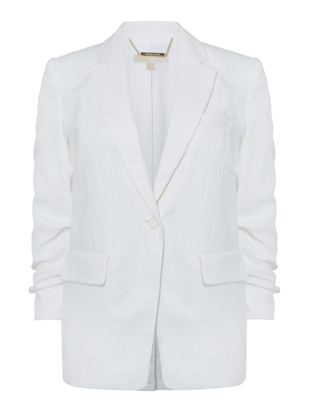 Boyfriend Blazer, White - pattern: plain; style: single breasted blazer; length: below the bottom; collar: standard lapel/rever collar; predominant colour: white; occasions: casual; fit: tailored/fitted; fibres: linen - 100%; sleeve length: long sleeve; sleeve style: standard; collar break: medium; pattern type: fabric; texture group: woven light midweight; season: s/s 2016; wardrobe: basic