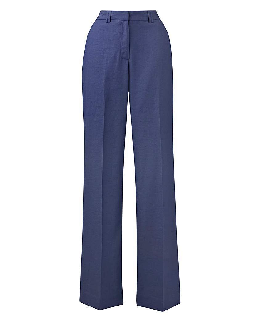 Petite Joanna Hope Linen Blend Trousers - length: standard; pattern: plain; waist: high rise; predominant colour: navy; fibres: linen - mix; texture group: linen; fit: wide leg; pattern type: fabric; style: standard; occasions: creative work; season: s/s 2016; wardrobe: basic