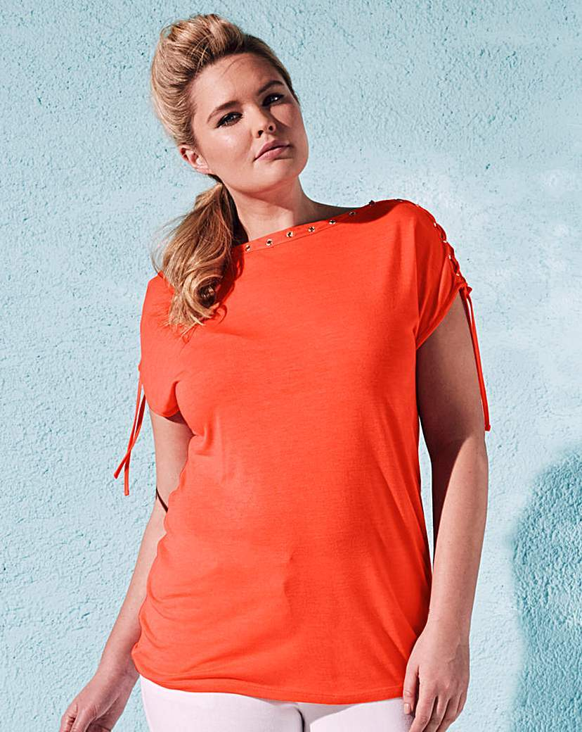 Eyelet Detail Plait Top - pattern: plain; predominant colour: bright orange; occasions: casual; length: standard; style: top; fibres: viscose/rayon - 100%; fit: body skimming; neckline: crew; sleeve length: short sleeve; sleeve style: standard; pattern type: fabric; texture group: jersey - stretchy/drapey; season: s/s 2016; wardrobe: highlight