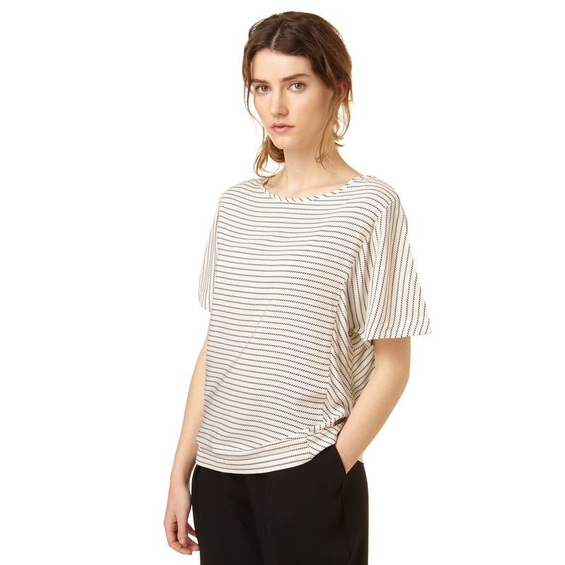 Sailor Striped Kimono Top, White - pattern: striped; predominant colour: white; secondary colour: mid grey; occasions: casual; length: standard; style: top; fibres: viscose/rayon - 100%; fit: body skimming; neckline: crew; sleeve length: half sleeve; sleeve style: standard; pattern type: fabric; texture group: jersey - stretchy/drapey; multicoloured: multicoloured; season: s/s 2016