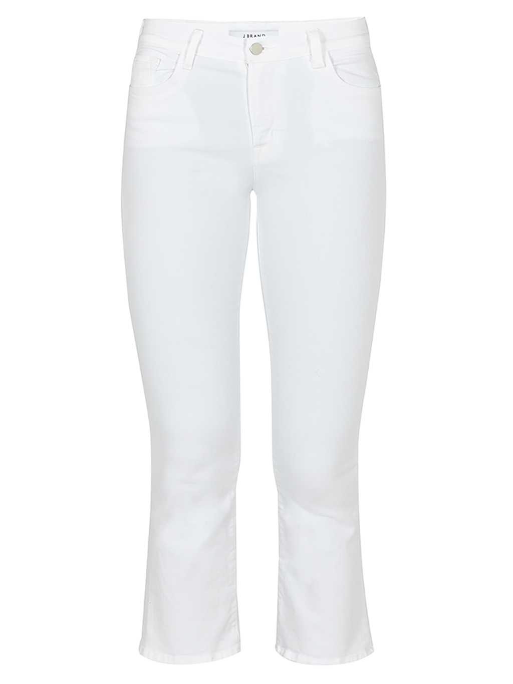 Selena Mid Rise Crop Jean - style: skinny leg; pattern: plain; pocket detail: traditional 5 pocket; waist: mid/regular rise; predominant colour: white; occasions: casual; length: calf length; fibres: cotton - stretch; texture group: denim; pattern type: fabric; season: s/s 2016; wardrobe: highlight