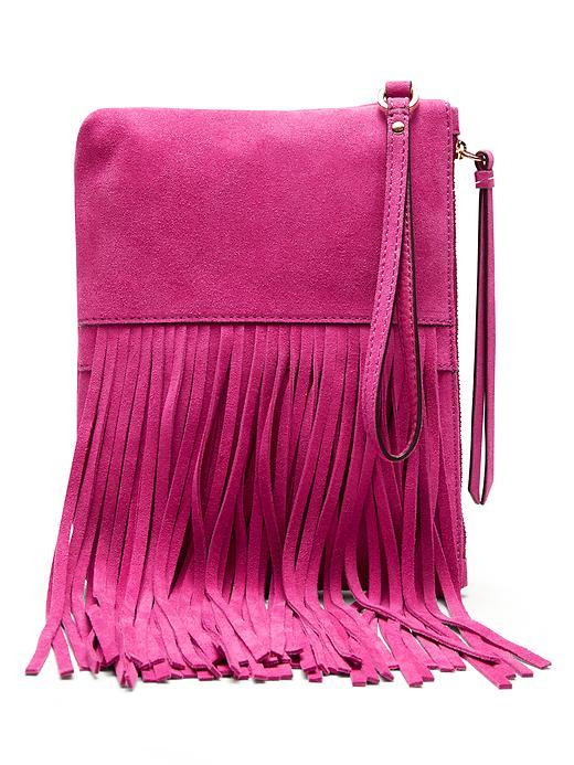Italian Suede Fringe Small Pouch Pop Pink - predominant colour: hot pink; occasions: casual, creative work; type of pattern: standard; style: messenger; length: across body/long; size: standard; material: suede; embellishment: fringing; pattern: plain; finish: plain; season: s/s 2016