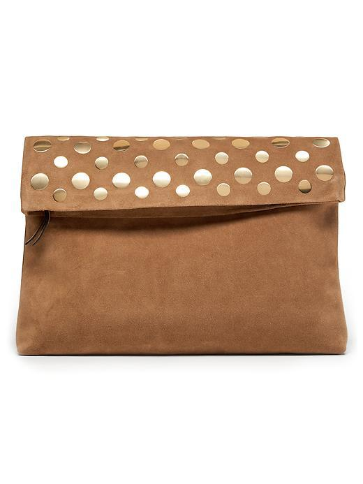 Studded Italian Suede Foldover Pouch Biscotti - predominant colour: camel; occasions: evening, occasion; type of pattern: standard; style: clutch; length: hand carry; size: standard; material: suede; pattern: plain; finish: plain; embellishment: chain/metal; season: s/s 2016; wardrobe: event