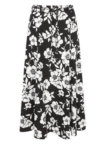 Womens Floral Printed Linen Maxi Skirt, Monochrome, Black/White - length: below the knee; style: full/prom skirt; fit: loose/voluminous; waist: mid/regular rise; secondary colour: white; predominant colour: black; fibres: linen - 100%; occasions: occasion; hip detail: subtle/flattering hip detail; trends: monochrome; texture group: linen; pattern type: fabric; pattern: florals; pattern size: big & busy (bottom); season: s/s 2016; wardrobe: event