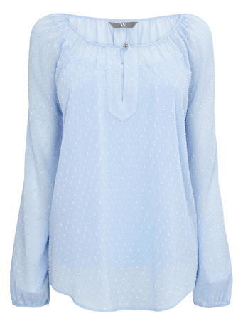 Womens Front Slit Dobby Blouse, Pale Blue, Blue - neckline: round neck; pattern: plain; style: blouse; predominant colour: pale blue; occasions: casual, creative work; length: standard; fibres: polyester/polyamide - 100%; fit: straight cut; sleeve length: long sleeve; sleeve style: standard; texture group: sheer fabrics/chiffon/organza etc.; pattern type: fabric; season: s/s 2016; wardrobe: highlight