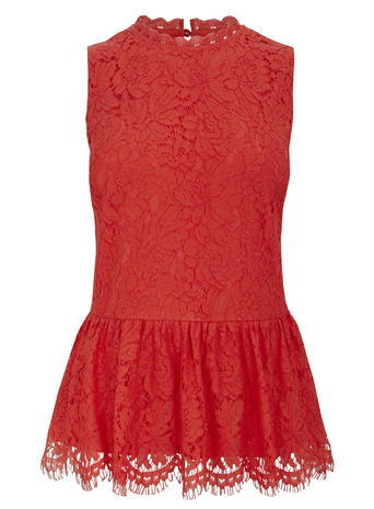 Womens Coral Lace Peplum Top, Coral - sleeve style: sleeveless; neckline: high neck; waist detail: peplum waist detail; predominant colour: true red; occasions: evening, creative work; length: standard; style: top; fibres: polyester/polyamide - 100%; fit: tailored/fitted; sleeve length: sleeveless; texture group: lace; pattern type: fabric; pattern size: standard; pattern: patterned/print; season: s/s 2016; wardrobe: highlight