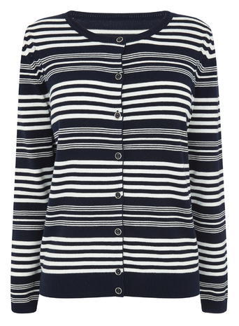 Womens Multi Stripe Button Through Cardi, Navy, Navy - neckline: round neck; pattern: horizontal stripes; secondary colour: white; predominant colour: navy; occasions: casual, creative work; length: standard; style: standard; fibres: cotton - mix; fit: standard fit; sleeve length: long sleeve; sleeve style: standard; texture group: knits/crochet; pattern type: knitted - fine stitch; pattern size: light/subtle; season: s/s 2016; trends: graphic stripes; wardrobe: highlight
