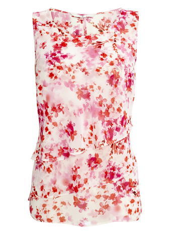 Womens Layered Lotus Flower Print Top, Pink, Ivory/Pink - neckline: round neck; sleeve style: sleeveless; bust detail: ruching/gathering/draping/layers/pintuck pleats at bust; predominant colour: ivory/cream; secondary colour: true red; occasions: casual; length: standard; style: top; fibres: polyester/polyamide - 100%; fit: body skimming; sleeve length: sleeveless; texture group: sheer fabrics/chiffon/organza etc.; pattern type: fabric; pattern: florals; multicoloured: multicoloured; season: s/s 2016; wardrobe: highlight