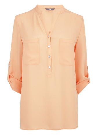 Womens Long Sleeved Utility Blouse, Orange, Orange - pattern: plain; style: blouse; predominant colour: coral; occasions: casual; length: standard; neckline: collarstand & mandarin with v-neck; fibres: polyester/polyamide - 100%; fit: body skimming; sleeve length: 3/4 length; sleeve style: standard; texture group: crepes; pattern type: fabric; season: s/s 2016