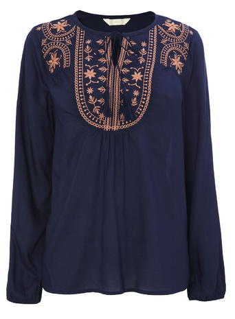 Womens Navy Embroidered Peasant Top, Navy - secondary colour: pink; predominant colour: navy; occasions: casual; length: standard; style: top; neckline: collarstand & mandarin with v-neck; fibres: viscose/rayon - 100%; fit: body skimming; sleeve length: long sleeve; sleeve style: standard; pattern type: fabric; pattern size: standard; pattern: patterned/print; texture group: other - light to midweight; embellishment: embroidered; multicoloured: multicoloured; season: s/s 2016; wardrobe: highlight; embellishment location: bust
