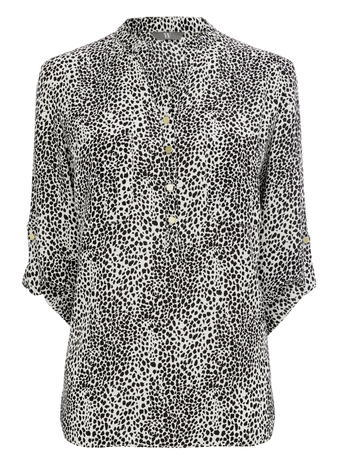 Womens St.Tropez Printed Utility Blouse, Monochrome, Ivory/Black - style: blouse; secondary colour: white; predominant colour: black; occasions: casual; length: standard; neckline: collarstand & mandarin with v-neck; fibres: polyester/polyamide - 100%; fit: body skimming; sleeve length: 3/4 length; sleeve style: standard; pattern type: fabric; pattern size: light/subtle; pattern: animal print; texture group: woven light midweight; multicoloured: multicoloured; season: s/s 2016