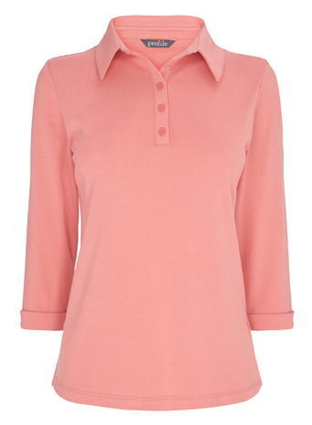Womens 3/4 Length Sleeved Polo Shirt, Coral, Coral - neckline: shirt collar/peter pan/zip with opening; pattern: plain; style: polo shirt; predominant colour: pink; occasions: casual; length: standard; fibres: cotton - 100%; fit: body skimming; sleeve length: 3/4 length; sleeve style: standard; texture group: jersey - clingy; pattern type: fabric; season: s/s 2016; wardrobe: highlight; embellishment location: bust