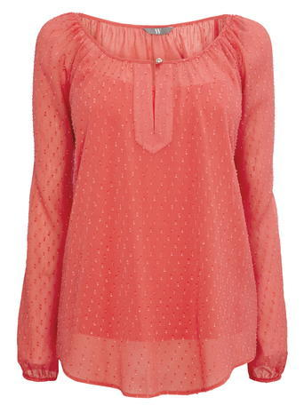 Womens Front Slit Dobby Blouse, Coral, Coral - neckline: round neck; pattern: plain; style: blouse; predominant colour: coral; occasions: casual; length: standard; fibres: polyester/polyamide - 100%; fit: body skimming; sleeve length: long sleeve; sleeve style: standard; texture group: sheer fabrics/chiffon/organza etc.; pattern type: fabric; season: s/s 2016