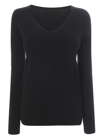Womens Black Long Sleeve Supersoft V Neck Jumper, Black - neckline: v-neck; pattern: plain; length: below the bottom; style: standard; predominant colour: black; occasions: casual, work, creative work; fibres: acrylic - 100%; fit: standard fit; sleeve length: long sleeve; sleeve style: standard; texture group: knits/crochet; pattern type: knitted - fine stitch; season: s/s 2016; wardrobe: basic