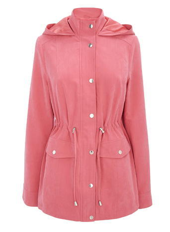 Womens Lightweight Microfibre Hooded Coat, Pink, Pink - pattern: plain; length: below the bottom; collar: funnel; style: mac; back detail: hood; fit: slim fit; predominant colour: pink; occasions: casual; fibres: polyester/polyamide - stretch; sleeve length: long sleeve; sleeve style: standard; collar break: high; pattern type: fabric; texture group: other - light to midweight; season: s/s 2016; wardrobe: highlight