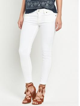 5 Pocket Crop Skinny Jean - style: skinny leg; length: standard; pattern: plain; pocket detail: traditional 5 pocket; waist: mid/regular rise; predominant colour: white; occasions: casual; fibres: cotton - stretch; texture group: denim; pattern type: fabric; season: s/s 2016; wardrobe: highlight