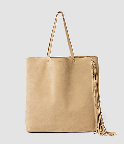Club New Lea Fringe Tote - predominant colour: camel; occasions: casual, creative work; type of pattern: standard; style: shoulder; length: shoulder (tucks under arm); size: standard; material: leather; pattern: plain; finish: plain; season: s/s 2016; wardrobe: investment