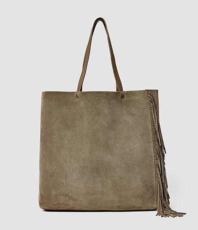 Club New Lea Fringe Tote - predominant colour: taupe; occasions: casual, creative work; type of pattern: standard; style: shoulder; length: shoulder (tucks under arm); size: standard; material: suede; pattern: plain; finish: plain; season: s/s 2016