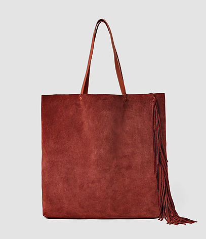 Club New Lea Fringe Tote - predominant colour: terracotta; occasions: casual, creative work; type of pattern: standard; style: shoulder; length: shoulder (tucks under arm); size: standard; material: suede; pattern: plain; finish: plain; season: s/s 2016; wardrobe: highlight
