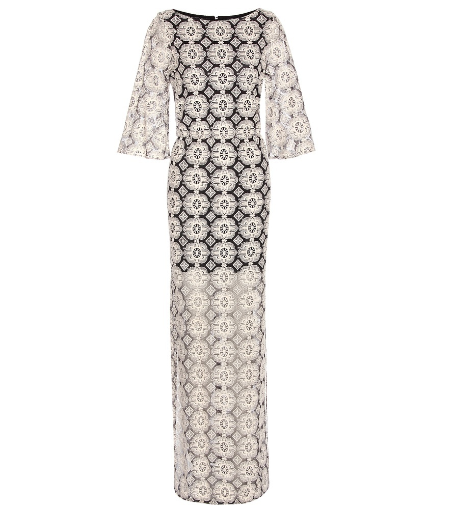 Kellyann Embroidered Dress - style: maxi dress; predominant colour: white; secondary colour: black; occasions: evening; length: floor length; fit: body skimming; fibres: cotton - mix; neckline: crew; sleeve length: 3/4 length; sleeve style: standard; texture group: lace; pattern type: fabric; pattern size: big & busy; pattern: patterned/print; embellishment: lace; multicoloured: multicoloured; season: s/s 2016; wardrobe: event