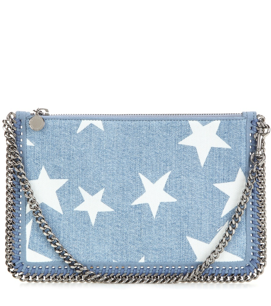 Falabella Printed Denim Clutch - secondary colour: white; predominant colour: denim; occasions: casual, creative work; type of pattern: light; style: clutch; length: across body/long; size: small; material: fabric; finish: plain; pattern: patterned/print; season: s/s 2016; wardrobe: highlight