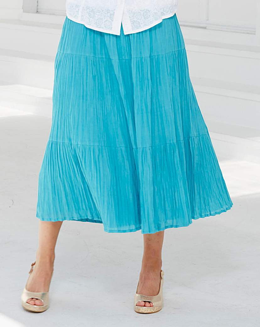 Long Line Crinkle Skirt 32ins - length: calf length; pattern: plain; fit: loose/voluminous; style: tiered; waist: high rise; predominant colour: diva blue; fibres: polyester/polyamide - 100%; hip detail: subtle/flattering hip detail; texture group: sheer fabrics/chiffon/organza etc.; occasions: holiday; pattern type: fabric; season: s/s 2016; wardrobe: holiday