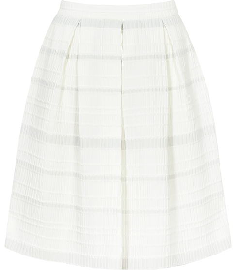Dolly Box Pleat Skirt - style: full/prom skirt; fit: loose/voluminous; waist: mid/regular rise; predominant colour: ivory/cream; occasions: casual; length: just above the knee; fibres: polyester/polyamide - stretch; pattern type: fabric; texture group: woven light midweight; pattern: horizontal stripes (bottom); season: s/s 2016; wardrobe: highlight