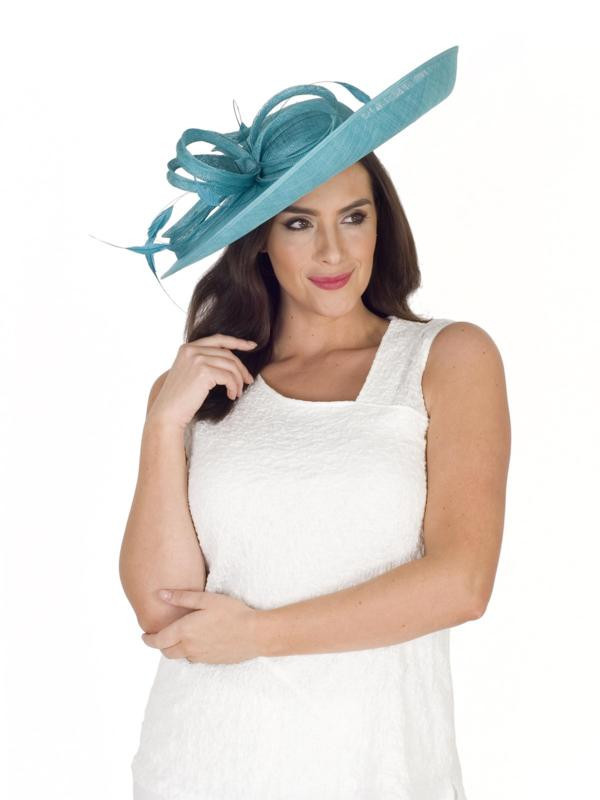 Dark Turquoise Large Bow And Feather Detail Hatinator - predominant colour: turquoise; occasions: occasion; type of pattern: standard; embellishment: feathers; style: wide brimmed; size: large; material: fabric; pattern: plain; season: s/s 2016; wardrobe: event